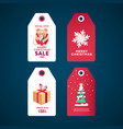 christmas gift tags set white stickers with gift vector image