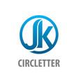 circle initial letter jk logo concept design vector image
