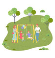 dad and mom ride children on a swing girl vector image