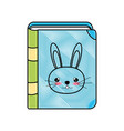 doodle education rabbit book object style vector image