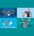 drummer banner set flat style vector image