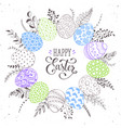 easter eggs wreath vector image vector image