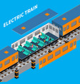 electric train isometric composition vector image vector image