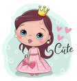 fairy tale princess on a blue background vector image vector image