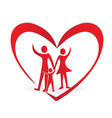 family and heart symbol vector image vector image