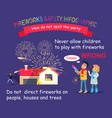 fireworks safety infographic children with rocket vector image vector image