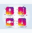 fishing icons fish with fishermen hook symbol vector image