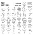 flowers thin line signed icon set gardening vector image