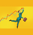 funny businessman strives for high results vector image
