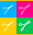 Hair cutting scissors sign four styles of icon on