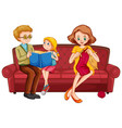 happy family sitting on couch vector image