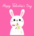 happy valentines day cute bunny rabbit hare vector image vector image