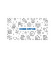 home office concept thin line horizontal vector image