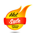 hot sale flaming label vector image vector image