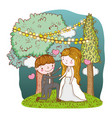 man and woman with trees and party flags vector image