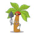 miner palm tree character cartoon vector image vector image