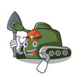 miner tank mascot cartoon style vector image