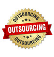 outsourcing round isolated gold badge vector image vector image