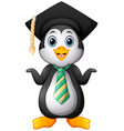 penguin cartoon with graduation cap and striped ti vector image