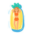 people on inflatable mattress party girl vector image vector image