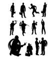 plumber gesture silhouette vector image vector image