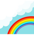 rainbow in the sky fluffy cloud in corner vector image vector image