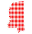 red dot map of mississippi vector image