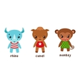Rhino and camel monkey or ape cartoon characters vector image vector image