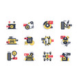 set car service icons with tires motor vector image vector image