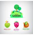 set fruit garden logos healthy food vector image vector image