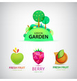 set of fruit garden logos healthy food vector image vector image