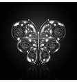 Silver abstract butterfly on black background vector image