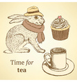 Sketch fancy hare cup cupcake in vintage style vector image vector image