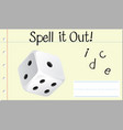 spell english word dice vector image vector image