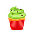 sweet cupcake with green frosting vector image