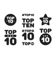 top ten 10 black and white icon set vector image vector image