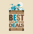 travel banner with suitcase sun vector image vector image