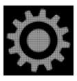 white halftone cogwheel icon vector image