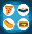 world food day healthy lifestyle hot dog burger vector image vector image