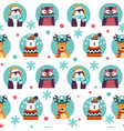 xmas animal characters bear and deer pattern vector image vector image