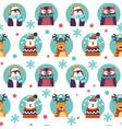 xmas animal characters bear and deer pattern vector image