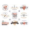 wine logos labels set winery wine shop vector image