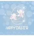 Two white Easter Bunny greeting vector image