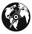 compass on earth icon simple style vector image