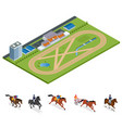 isometric exterior racecourse and set jockey on vector image