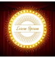 Circle glittering golden banner on red curtain vector image