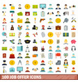 100 job offer icons set flat style vector image vector image