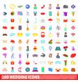 100 wedding icons set cartoon style vector image vector image