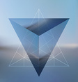 Abstract isometric pyramid with the reflection of vector image
