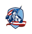 American Patriot Football Quarterback Shield vector image vector image